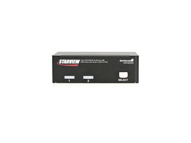 StarTech SV231DDVDUA 2 Port DVI VGA Dual Monitor KVM Switch USB with Audio & USB 2.0 Hub