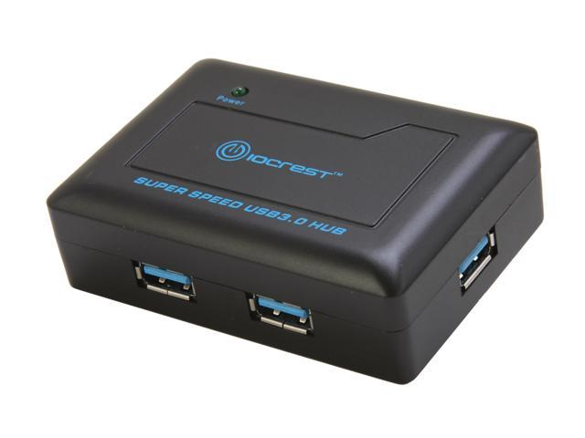 SYBA SY-HUB20089 USB 3.0 Mini Hub, with Power Adapter and Cable