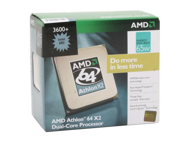 AMD Athlon 64 X2 3600+ Brisbane Dual-Core 1.9 GHz Socket AM2 65W ADO3600DDBOX Processor