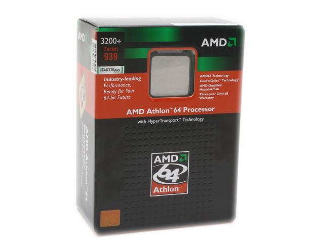 AMD Athlon 64 3200+ Venice Single-Core 2.0 GHz Socket 939 ADA3200BPBOX Processor