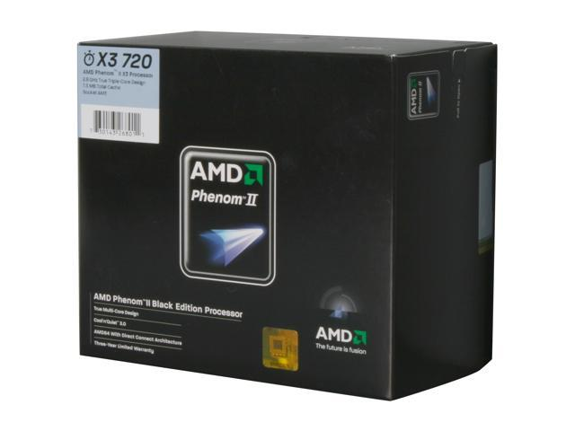 AMD Phenom II X3 720 Triple-Core 2.8 GHz Socket AM3 95W HDZ720WFGIBOX Black Processor