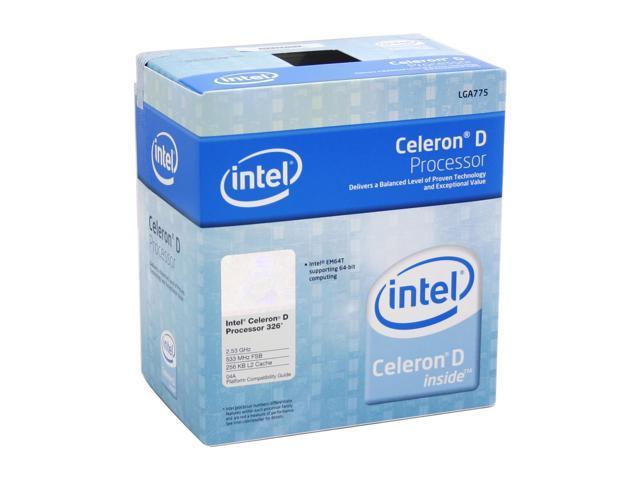 Intel Celeron D 326 Prescott Single-Core 2.53 GHz LGA 775 BX80547RE2533CN EM64T Processor w/ Execute Disable Bit