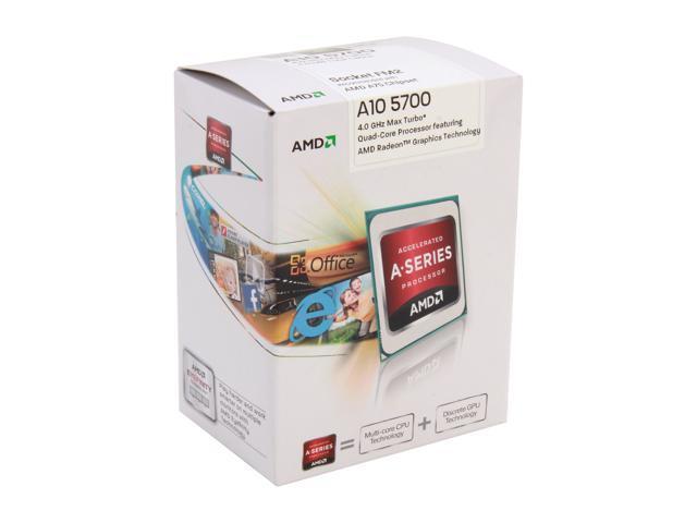 AMD A10-5700 3.4GHz (4.0GHz Turbo) Socket FM2 AD5700OKHJBOX Desktop APU (CPU + GPU) with DirectX 11 Graphic