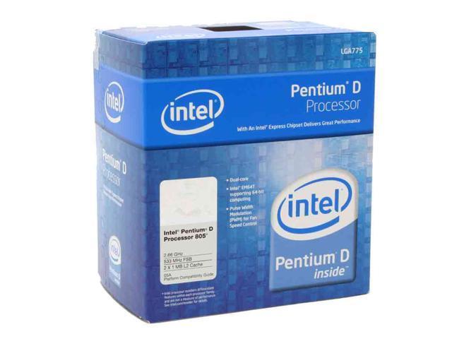 Intel Pentium D 805 Smithfield Dual-Core 2.66 GHz LGA 775 95W BX80551PE2666FN Processor
