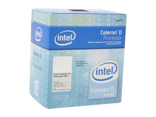 Intel Celeron D 351 Prescott Single-Core 3.2 GHz LGA 775 BX80547RE3200CN EM64T Processor