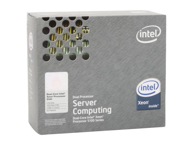 Intel Xeon 5140 Woodcrest 2.33GHz LGA 771 65W Dual-Core 2U Passive Processor Model BX805565140P