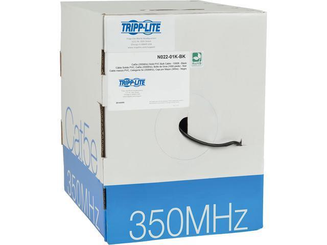 Tripp Lite Cat 5/ Cat5e Bulk Solid-Core PVC Cable, 350 MHz, Black, 1000 ft. (N022-01K-BK)