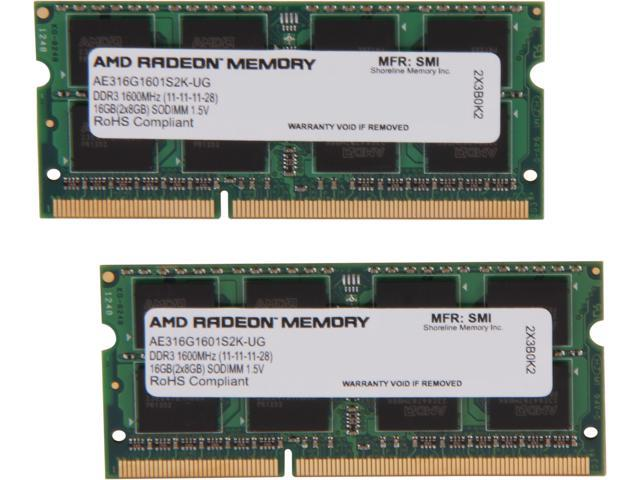 AMD Entertainment Series 16GB (2 x 8G) 204-Pin DDR3 SO-DIMM DDR3 1600 (PC3 12800) Laptop Memory Model AE316G1601S2K-UG