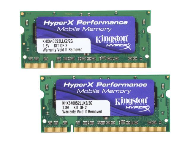 HyperX 2GB (2 x 1GB) 200-Pin DDR2 SO-DIMM DDR2 800 (PC2 6400) Dual Channel Kit Laptop Memory Model KHX6400S2LLK2/2G
