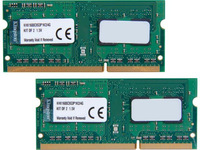 HyperX 4GB (2 x 2GB) 204-Pin DDR3 SO-DIMM DDR3 1600 HyperX Plug n Play Laptop Memory Model KHX1600C9S3P1K2/4G