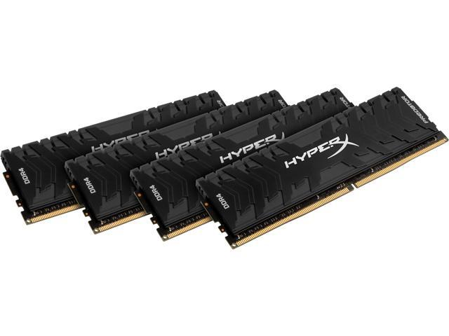HyperX Predator 32GB (4 x 8GB) DDR4 3000 RAM (Desktop Memory) CL15 XMP Black DIMM (288-Pin) HX430C15PB3K4/32