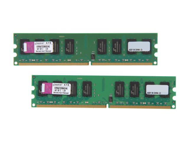 Kingston 4GB (2 x 2GB) 240-Pin DDR2 SDRAM DDR2 667 (PC2 5300) Dual Channel Kit Desktop Memory Model KVR667D2N5K2/4G