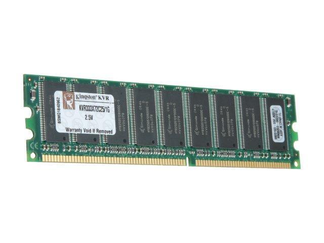 Kingston ValueRAM 1GB 184-Pin DDR SDRAM ECC Unbuffered DDR 333 (PC 2700) Server Memory Model KVR333X72C25/1G