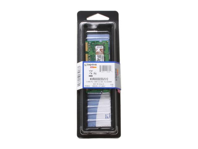 Kingston 512MB 200-Pin DDR2 SO-DIMM DDR2 800 (PC2 6400) Laptop Memory Model KVR800D2S5/512