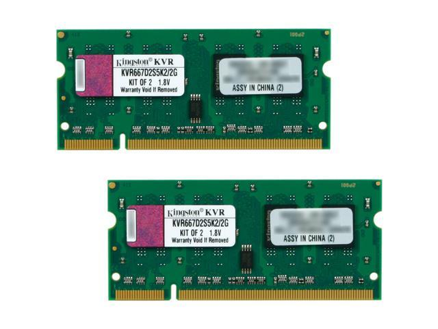 Kingston ValueRAM 2GB (2 x 1GB) 200-Pin DDR2 SO-DIMM DDR2 667 (PC2 5300) Dual Channel Kit Laptop Memory Model KVR667D2S5K2/2G