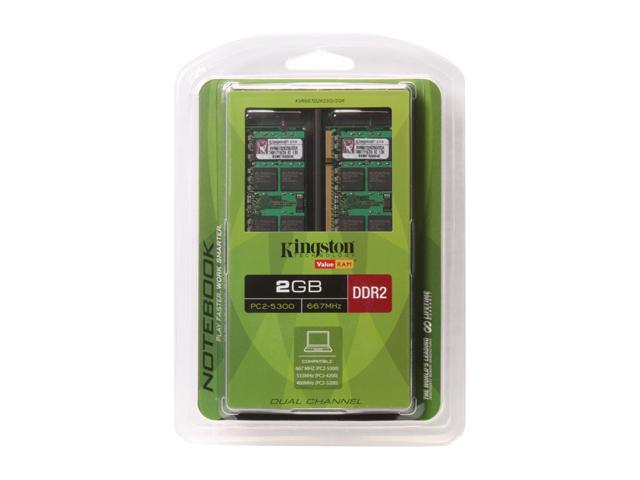 Kingston 2GB (2 x 1GB) 200-Pin DDR2 SO-DIMM DDR2 667 (PC2 5300) Dual Channel Kit Laptop Memory Model KVR667D2K2SO/2GR
