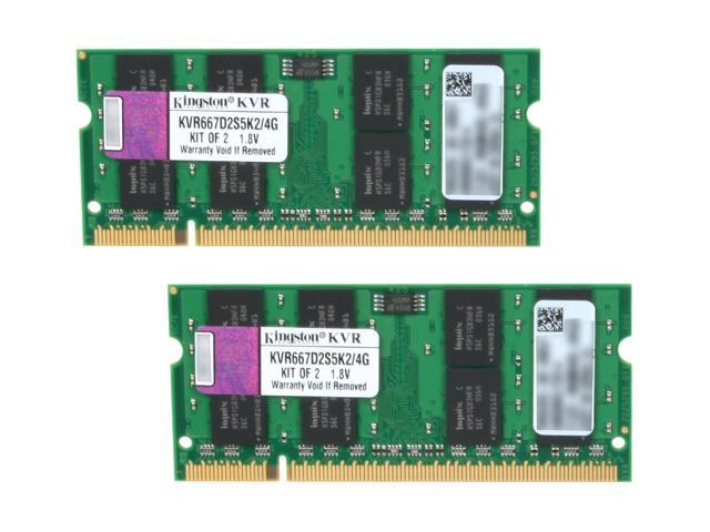 Kingston ValueRAM 4GB (2 x 2GB) 200-Pin DDR2 SO-DIMM DDR2 667 (PC2 5300) Dual Channel Kit Laptop Memory Model KVR667D2S5K2/4G