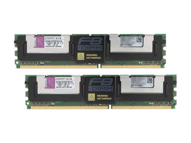 Kingston ValueRAM 4GB (2 x 2GB) ECC Fully Buffered DDR2 667 (PC2 5300) Dual Channel Kit Server Memory Model KVR667D2D8F5K2/4G