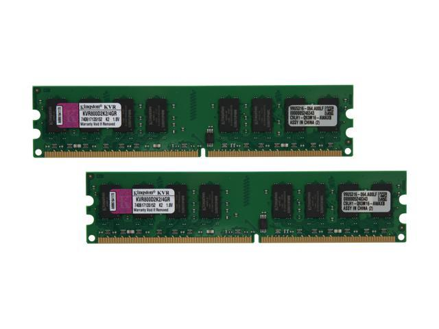 Kingston 4GB (2 x 2GB) 240-Pin DDR2 SDRAM DDR2 800 (PC2 6400) Dual Channel Kit Desktop Memory Model KVR800D2K2/4GR