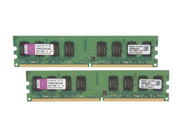 Kingston ValueRAM 4GB (2 x 2GB) 240-Pin DDR2 SDRAM DDR2 667 (PC2 5300) Dual Channel Kit Desktop Memory Model KVR667D2K2/4GR