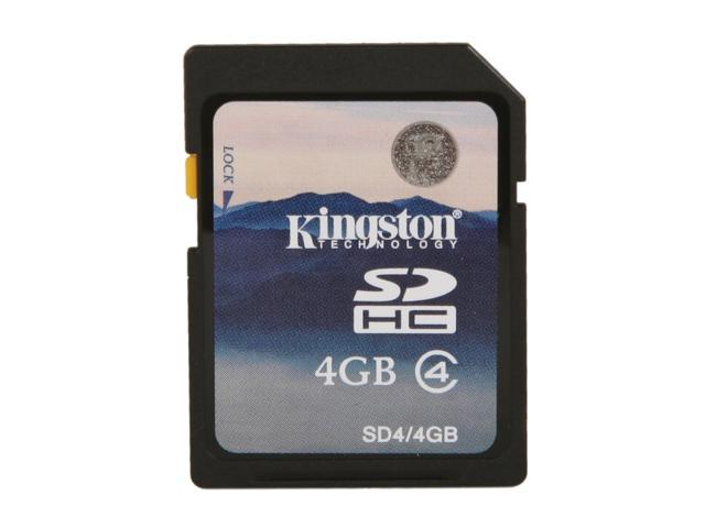 Kingston 4GB Secure Digital High-Capacity (SDHC) Flash Card W/ E-Tail clamshell Model SD4/4GBET