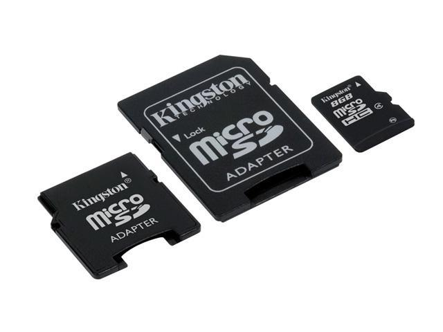 Kingston 8GB microSDHC Flash Card w/2 Adapters Model SDC4/8GB-2ADP