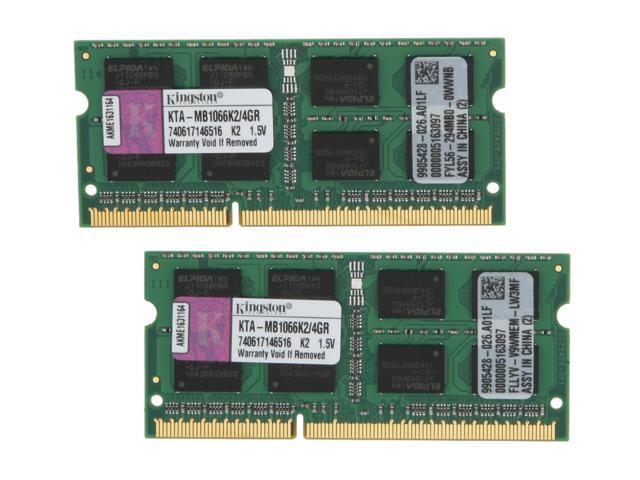 Kingston 4GB (2 x 2GB) 204-Pin DDR3 SO-DIMM DDR3 1066 (PC3 8500) Dual Channel Kit Memory For Apple Model KTA-MB1066K2/4GR