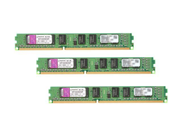 Kingston ValueRAM 3GB (3 x 1GB) 240-Pin DDR3 SDRAM DDR3 1333 (PC3 10666) Triple Channel Kit Desktop Memory Model KVR1333D3K3/3GR