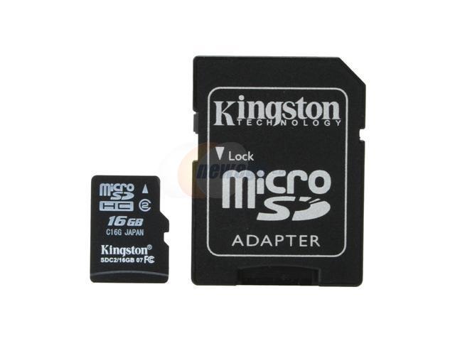 Kingston 16GB microSDHC Flash Card w/ Adapter Model SDC2/16GB