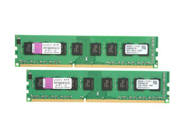 Kingston 8GB (2 x 4GB) 240-Pin DDR3 SDRAM DDR3 1066 (PC3 8500) Desktop Memory Model KVR1066D3N7K2/8G