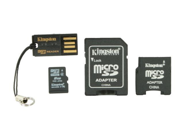 Kingston 8GB microSDHC Flash Card with Adapters & USB Reader Model MBLYG2/8GB
