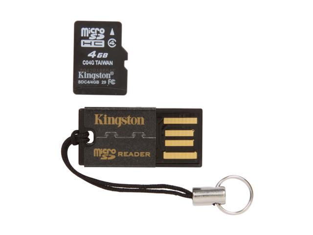 Kingston 4GB microSDHC Flash Card with microSD/SDHC USB Reader Model MRG2+SDC4/4GB