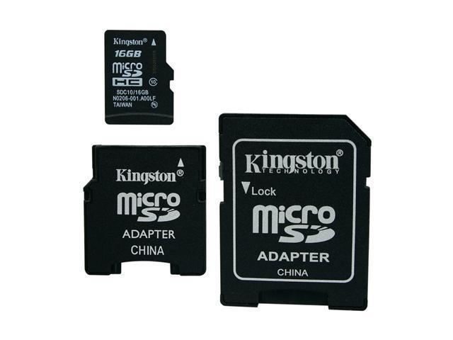 Kingston 16GB microSDHC Flash Card w/2 Adapters Model SDC10/16GB-2ADP