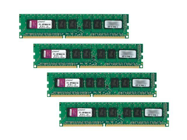 Kingston 16GB (4 x 4GB) DDR3 1066 (PC3 8500) ECC Mac Memory Kit w/ Thermal Sensors Model KTA-MP1066K4/16G