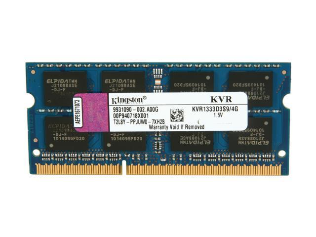 Kingston 4GB 204-Pin DDR3 SO-DIMM DDR3 1333 Laptop Memory Model KVR1333D3S9/4G
