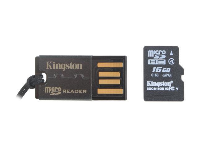Kingston 16GB microSDHC Flash Card w/ USB Reader Model MRG2+SDC4/16GB