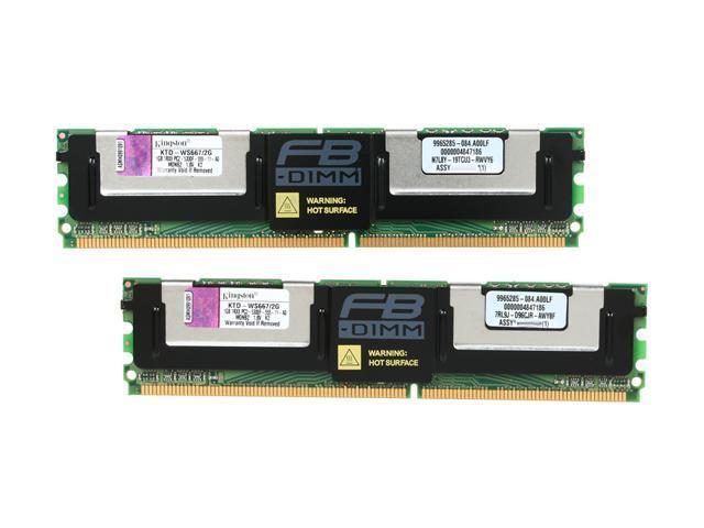 Kingston 2GB (2 x 1GB) 240-Pin DDR2 SDRAM DDR2 667 (PC2 5300) ECC Fully Buffered System Specific Memory Model KTD-WS667/2G