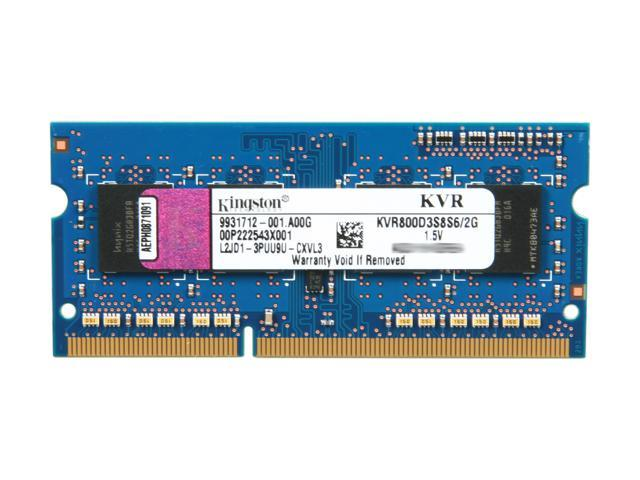 Kingston 2GB 204-Pin DDR3 SO-DIMM DDR3 800 Unbuffered System Specific Memory Model KVR800D3S8S6/2G
