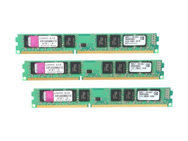 Kingston ValueRAM 12GB (3 x 4GB) 240-Pin DDR3 SDRAM DDR3 1333 (PC3 10600) Desktop Memory Model KVR1333D3N9K3/12G