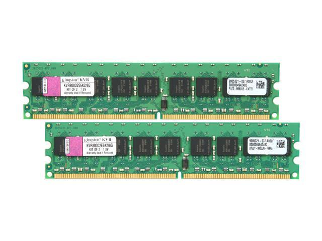 Kingston ValueRAM 8GB (2 x 4GB) 240-Pin DDR2 SDRAM ECC Unbuffered DDR2 800 (PC2 6400) Server Memory Model KVR800D2E6K2/8G