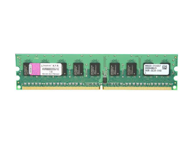 Kingston ValueRAM 1GB 240-Pin DDR2 SDRAM ECC Unbuffered DDR2 800 (PC2 6400) Server Memory Model KVR800D2E6/1G