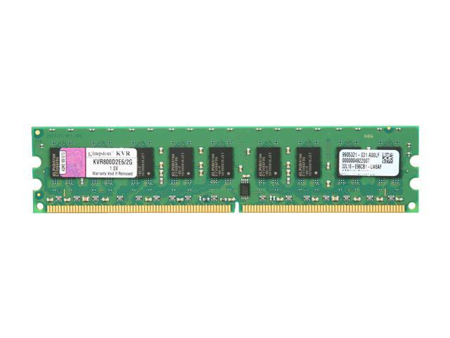 Kingston ValueRAM 2GB 240-Pin DDR2 SDRAM ECC DDR2 800 (PC2 6400) Server Memory Model KVR800D2E6/2G