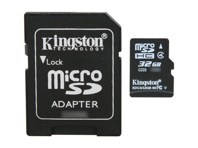 Kingston 32GB microSDHC Flash Card Model SDC4/32GB