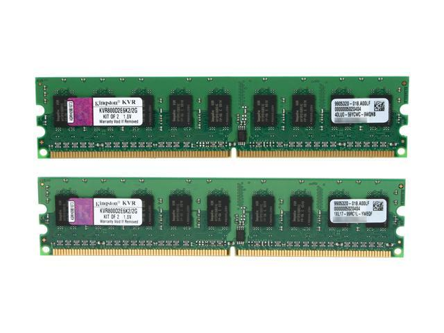 Kingston ValueRAM 2GB (2 x 1GB) 240-Pin DDR2 SDRAM ECC Unbuffered DDR2 800 (PC2 6400) Server Memory Model KVR800D2E6K2/2G