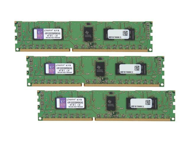 Kingston 6GB (3 x 2GB) 240-Pin DDR3 SDRAM ECC Registered DDR3 1333 Server Memory Model KVR1333D3S8R9SK3/6G