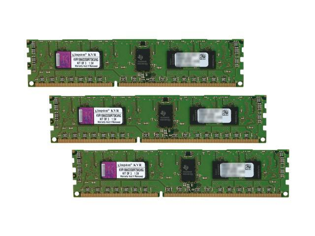 Kingston 6GB (3 x 2GB) 240-Pin DDR3 SDRAM ECC Registered DDR3 1066 (PC3 8500) Server Memory Model KVR1066D3S8R7SK3/6G