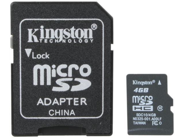 Kingston 4GB microSDHC Flash Card Model SDC10/4GB