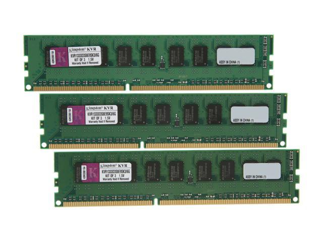Kingston ValueRAM 6GB (3 x 2GB) 240-Pin DDR3 SDRAM ECC Unbuffered DDR3 1333 Server Memory SR X8 w/TS Model KVR1333D3S8E9SK3/6G