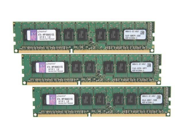 Kingston 12GB (3 x 4GB) 240-Pin DDR3 SDRAM DDR3 1066 Memory for Apple Model KTA-MP1066K3/12G