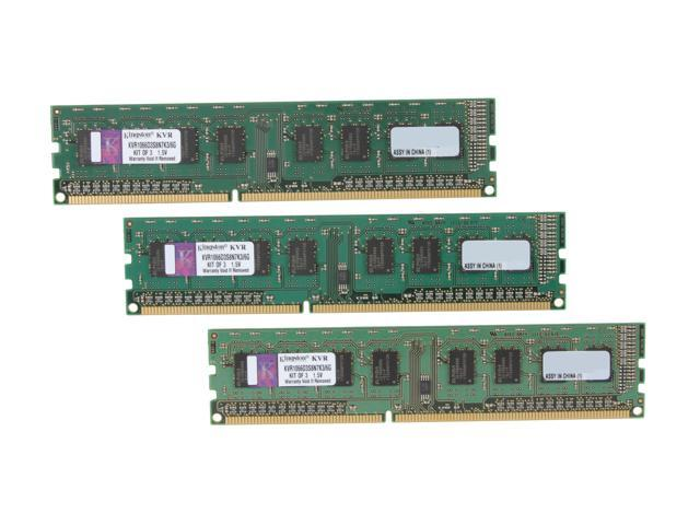 Kingston Value 6GB (3 x 2GB) 240-Pin DDR3 SDRAM DDR3 1066 Desktop Memory Model KVR1066D3S8N7K3/6G
